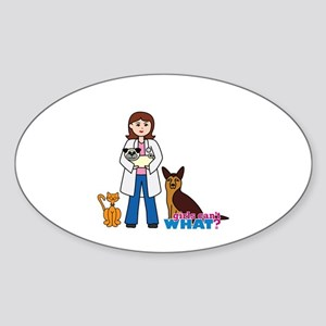 Woman Veterinarian Sticker (Oval)