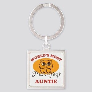One Purrfect Auntie Square Keychain