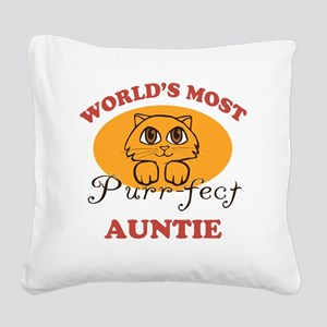 One Purrfect Auntie Square Canvas Pillow