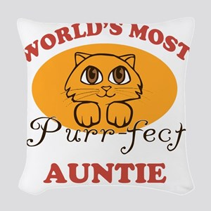 One Purrfect Auntie Woven Throw Pillow