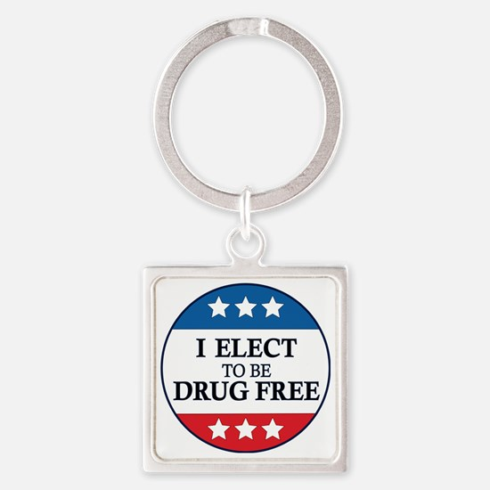 Drug Free Pin Square Keychain