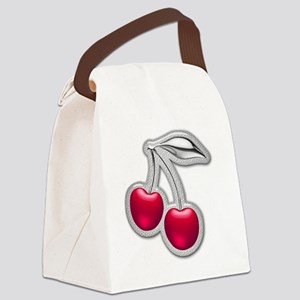 Glass Chrome Cherries Canvas Lunch Bag