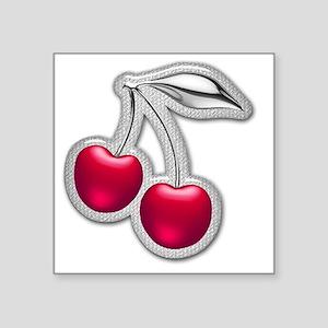 """Glass Chrome Cherries Square Sticker 3"""" x 3"""""""