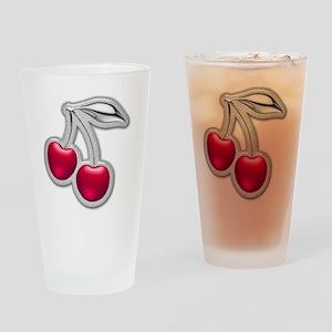 Glass Chrome Cherries Drinking Glass