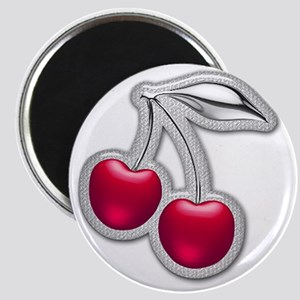Glass Chrome Cherries Magnet