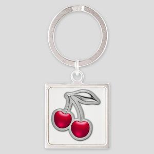 Glass Chrome Cherries Square Keychain