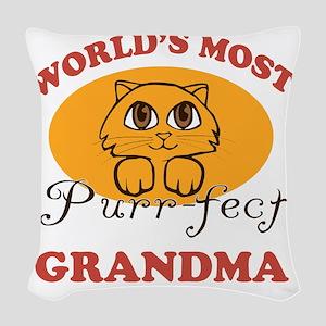 One Purrfect Grandma Woven Throw Pillow