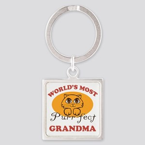 One Purrfect Grandma Square Keychain