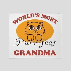 One Purrfect Grandma Throw Blanket