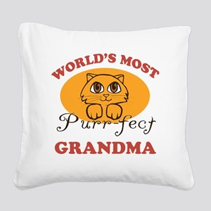 One Purrfect Grandma Square Canvas Pillow