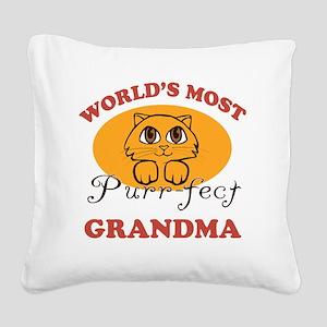 One Purrfect Grandma Square Canvas Pillow