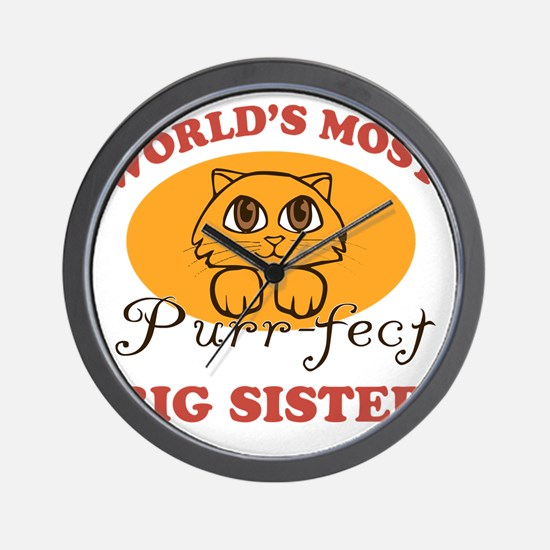 One Purrfect Big Sister Wall Clock