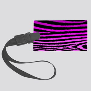 Hot Pink Jagged Zebra Print Large Luggage Tag