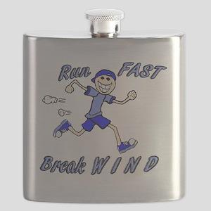 run fast - break wind - blue Flask