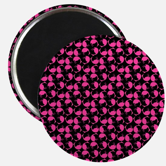 Hot Pink tumbling Flamingos Bird Dots On Bl Magnet