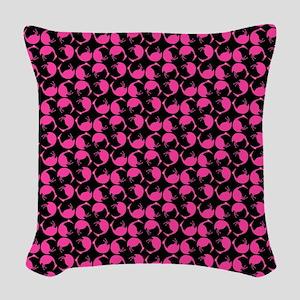 Hot Pink tumbling Flamingos Bi Woven Throw Pillow