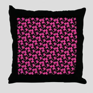 Hot Pink tumbling Flamingos Bird Dots Throw Pillow
