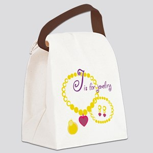J is for Jewelry Canvas Lunch Bag