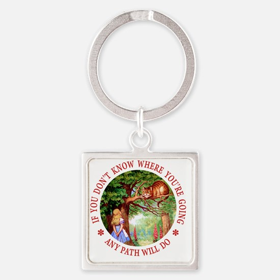 ALICE CAT ANY PATH WILL DO_RED cop Square Keychain