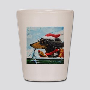 Dachshund Takes the Wheel for the Holid Shot Glass