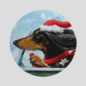 Dachshund Takes the Wheel for the H Round Ornament