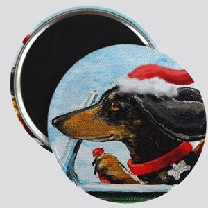 Dachshund Takes the Wheel for the Holidays Magnet