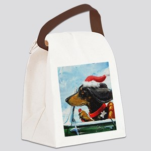 Dachshund Takes the Wheel for the Canvas Lunch Bag