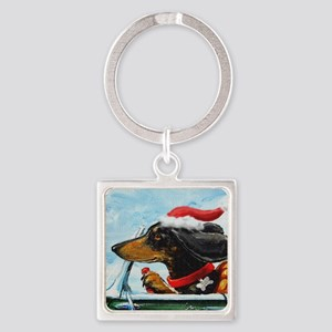Dachshund Takes the Wheel for the  Square Keychain