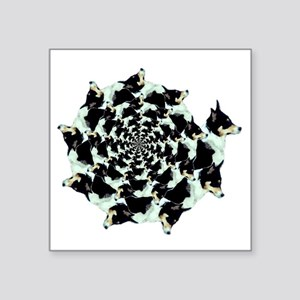 "Geo Corgi Mist Spiral Square Sticker 3"" x 3"""