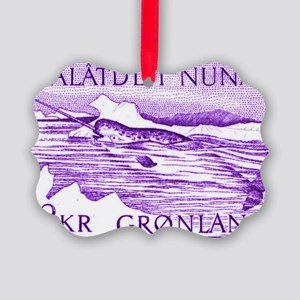 1975 Greenland Narwhal Whale Post Picture Ornament