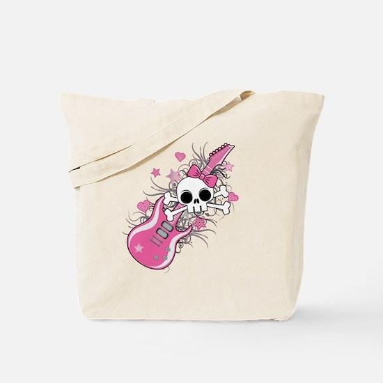 Cute Skull with Pink Guitar Tote Bag