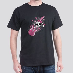 Cute Skull with Pink Guitar Dark T-Shirt