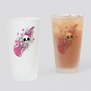 Cute Skull with Pink Guitar Drinking Glass