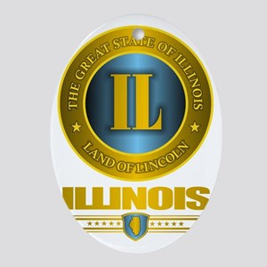 Illinois Gold Oval Ornament