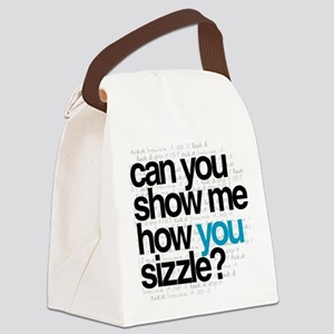 White w/ Blue Sizzle Canvas Lunch Bag