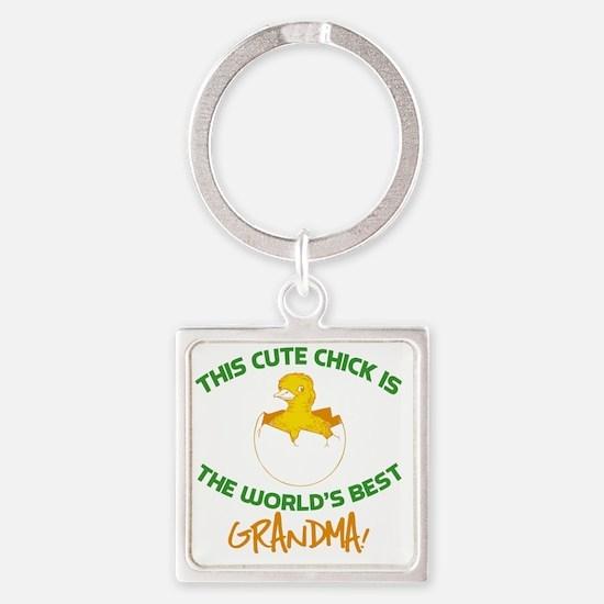 Cute Grandma Square Keychain