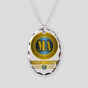 Massachusetts Gold Necklace Oval Charm