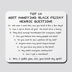 Black Friday Top 10 List (Black) Mousepad