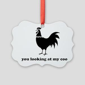 Chicken funny Picture Ornament