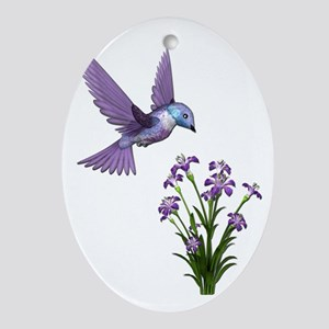 Purple Humming Bird with Flowers Oval Ornament