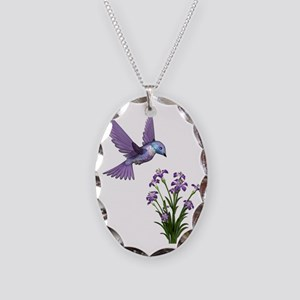 Purple Humming Bird with Flowe Necklace Oval Charm
