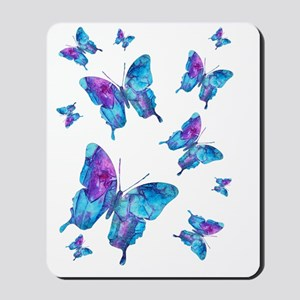 Electric Blue Butterfly Flurry Mousepad