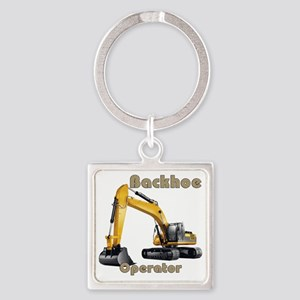 Back Hoe Square Keychain