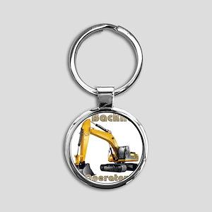Back Hoe Round Keychain