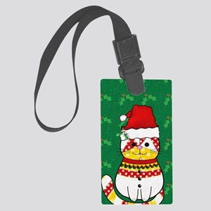 Christmas Cat Large Luggage Tag