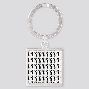 Golfing Silhouette or Icon Square Keychain