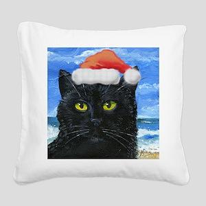 Santa Holiday Cat Square Canvas Pillow