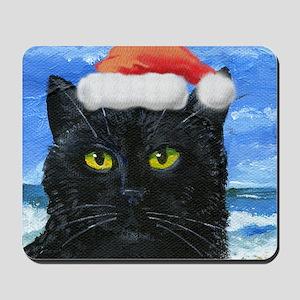Santa Holiday Cat Mousepad