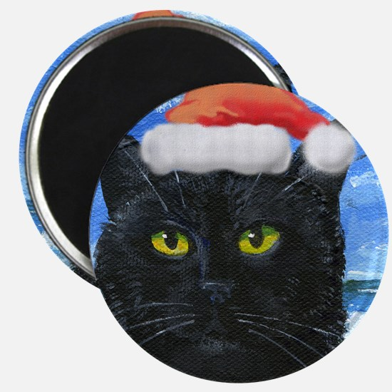 Santa Holiday Cat Magnet