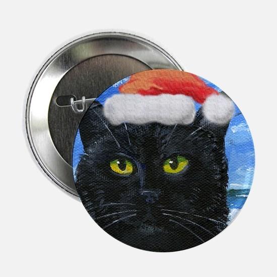 "Santa Holiday Cat 2.25"" Button"